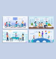 Family daily activities and recreation cartoon set vector