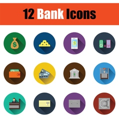 Flat design bank icon set vector