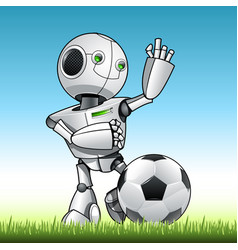 funny kid robot play soccer vector image