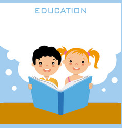 Girl and boy reading a book vector