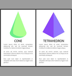 Green cone and purple tetrahedron geometric figure vector