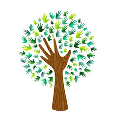 Green eco hand print tree for nature help vector