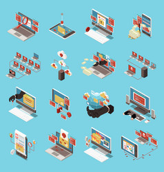 hacker fishing digital crime isometric icon set vector image