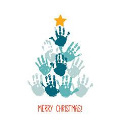handprint christmas tree with yellow hand drawn vector image
