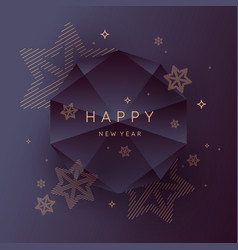 happy new year poster abstract polygonal object vector image