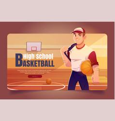 high school basketball cartoon web banner league vector image