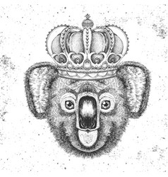 hipster animal koala in crown hand drawing muzzle vector image