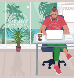 hipster working in office with tropical landscape vector image