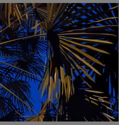 Illuminated palm leaves on night sky vector