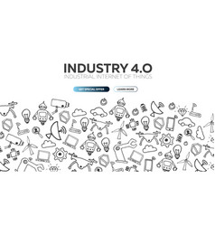 Industry 40 banner smart industrial revolution vector