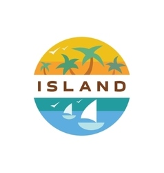 Island Yacht palm paradise quality vector image
