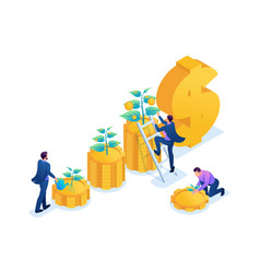 Isometric conceptual income growth web design vector