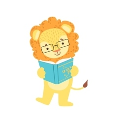 Lion smiling bookworm zoo character wearing vector