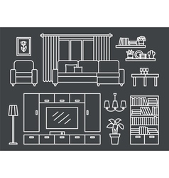Living room line on Black vector