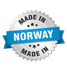 made in Norway silver badge with blue ribbon vector image