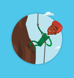 man climbing in mountains with rope vector image