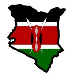 Map in colors of Kenya vector image vector image