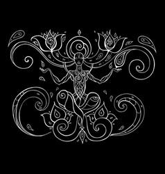Meditation yoga silhouette vector