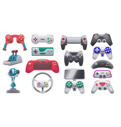 modern and retro video game consoles gamepads vector image