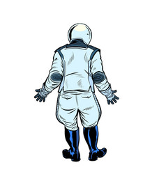 Modern astronaut stands with his back vector