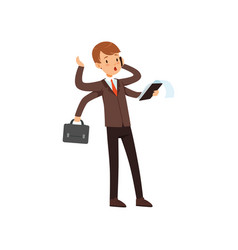 multitasking young businessman boy in a business vector image