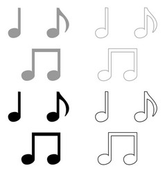 music note set icon grey and black color vector image