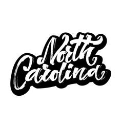 North carolina sticker modern calligraphy hand vector