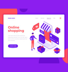 Online shopping people and interact with shop vector