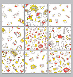 Patch seamless set on white background vector