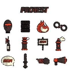 Protest flat icon set vector