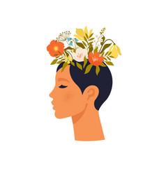 Psychology mental health woman character vector