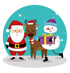 santa claus with deer and snow wearing hat vector image