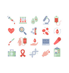 Set colored medical and blood icons vector