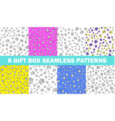 Set of seamless patterns with gift boxes vector