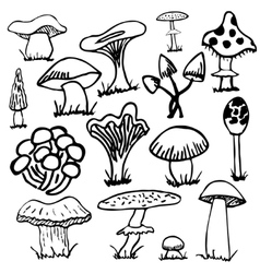 Set of silhouettes cute cartoon mushrooms isolated vector image