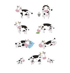set with cute cartoon cow farm animals vector image