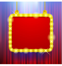 Shining party banner on red curtain background in vector