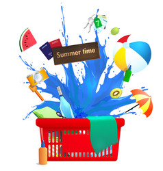 shopping cart with summer symbols vector image