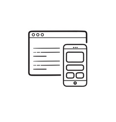 Smartphone coding and webpage hand drawn outline vector