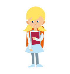 Smiling school girl with textbook icon vector