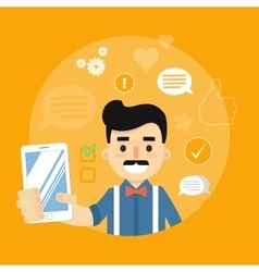 Social media banner Man with smartphone vector
