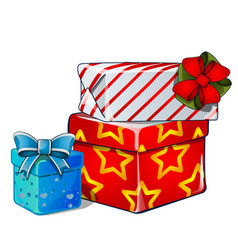 stack gift boxes blue and red ribbon bow vector image