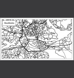 Stockholm sweden map in black and white color vector