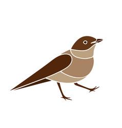 Stylized nightingale bird silhouette isolated on vector