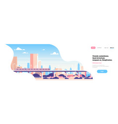 subway over city skyscraper view cityscape vector image