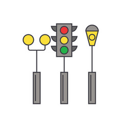 traffic light line icon concept traffic light vector image