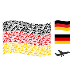 Waving german flag pattern of aiplane items vector
