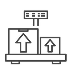 weighing delivery box icon outline style vector image