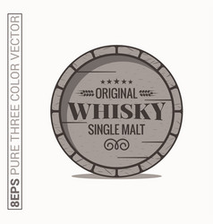 Whisky barrel logo single malt whiskey on white vector