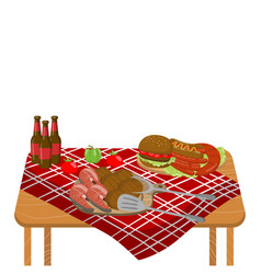 Wooden table with typical picnic meal burgers vector